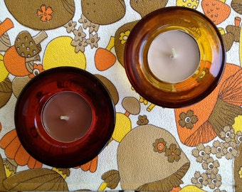 60s or 70s Vintage Tea Light Candle Holders, Red, Yellow, Fall Scented Candles