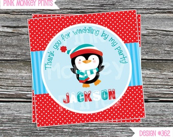 DIY - Boy Penguin Winter Birthday Favor Tags- Coordinating Items Available