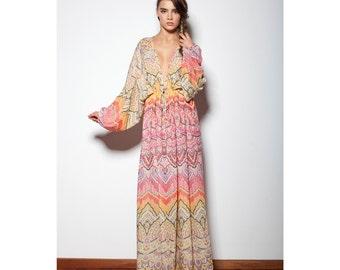 Colourful Bohemian Hippie Maxi Kaftan Dress Boho