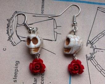Skull and Rose Earrings