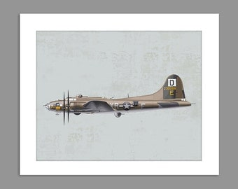 Digital Download Warbirds World War 2 B-17 Flying Fortress art print Boys Rooms Office