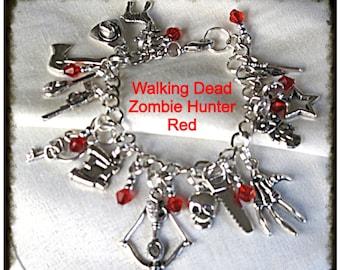 Zombie Hunter Walking Dead inspired charm bracelet RED beads geekery style