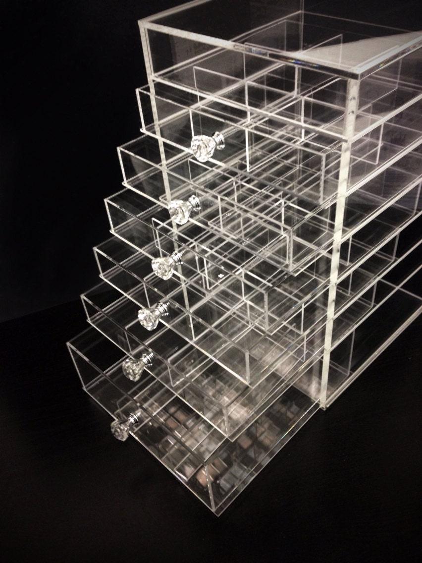 Acrylic Box Organiser : Deluxe diamond handle clear acrylic makeup organizer