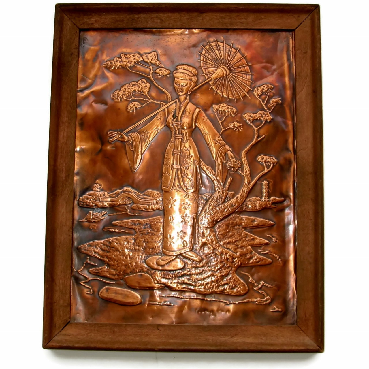 Pressed copper relief geisha wall art hanging by for Copper wall art