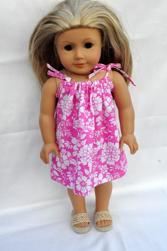 American Girl Doll Clothes Cute Pink Hawaiian Flower Sundress