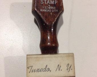 Tuxedo New York, tuxedo New York wooden rubber stamp, tuxedo