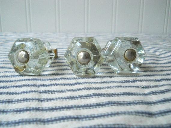 3 Vintage Glass Knobs Drawer Cabinet Pulls By TheIndustrialFarmer