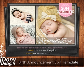 BUY 1 GET 1 FREE Birth Announcement - Neutral Baby Announcement Card - Photoshop Template Instant Download: cardcode-160