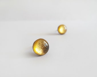 Golden Stud Earrings - Hypoallergenic Surgical Steel Posts -  Bridesmaid Gift