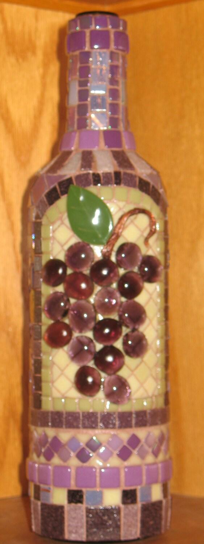 Mosaic Grapes Wine Bottle Purples Amethyst Decorative