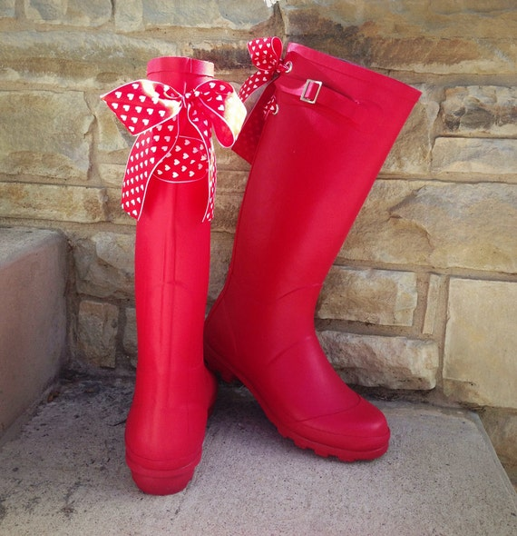 Tall Red Rain Boots with Heart Bows by GoslingBoots on Etsy