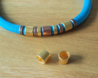 10mm Gold Tube for cord,2 pieces