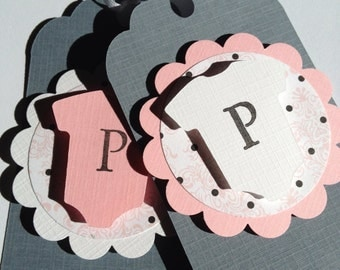 Baby Shower Favor Tags, pink and grey one-piece gift tags, custom baby shower favors, pink and gray baby decor, Baby Shower Decor