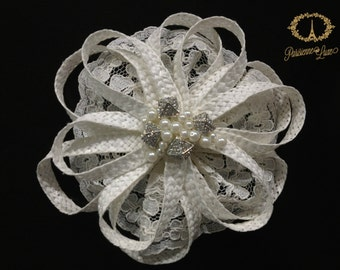 "Ivory Bridal Hair Accessories with Straw Braid, Lace, Bridal Hair clip, Bridal Fascinator, Straw Braid, Lace, Pearls & Rhinestones ""JULIET"""