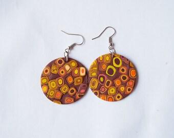 Polymer clay earrings OOAK earrings Brown earrings Dangle earrings Round earrings Geometric earrings Yellow earrings Large Casual earrings