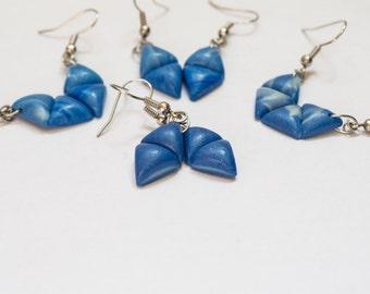 Polymer clay earrings Blue earrings Fluorescent earrings Geometric earrings Triangle earrings Dangle earrings Simple Minimalist Small Casual
