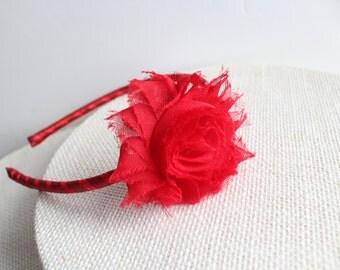 Toddler Headband - Girl Headband, Red Flower Headband