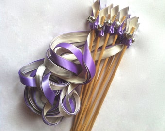 RIBBON WANDS, wedding wands, 3 ribbons and bell, Lavender, send off, CUSTOM colors, 125 wands