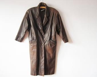 Vintage 80s Brown Leather Trench Coat Genuine Leather Grunge Bat Sleeve Long Avantgarde Coat Medium