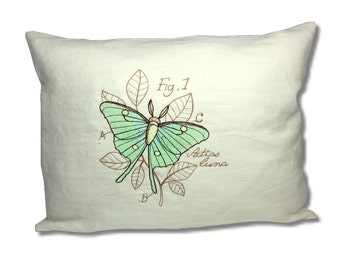 Miniature Menagerie Luna Moth Linen Cushion