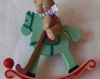 Rocking Horse Christmas Ornament with Bear