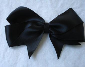 Black satin hair bow clip size large