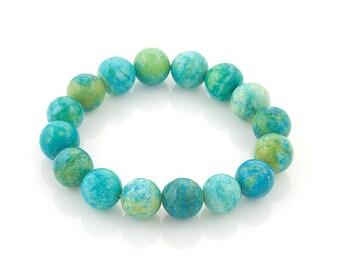 chrysocolla 10mm colorful stretch bracelet | elastic beaded bracelet semi precious stones