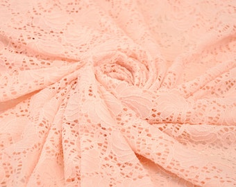 Blush Ocean Lace Fabric Soft Stretchy Lace Fabric by the Yard for Wedding Bridal Bridesmaid Dress Lace Fabric - 1 Yard style 6039