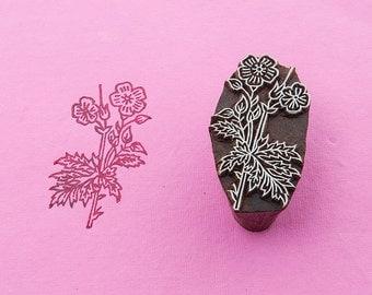 Bloom, wood block stamp