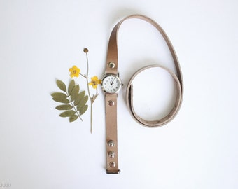 free shipping - beige milky leather bracelet wrap around wrist with silver watch face - Free Shipping