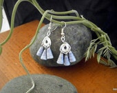 Eco-friendly blue wire wrap earrings, recycled paper beads, eco-friendly