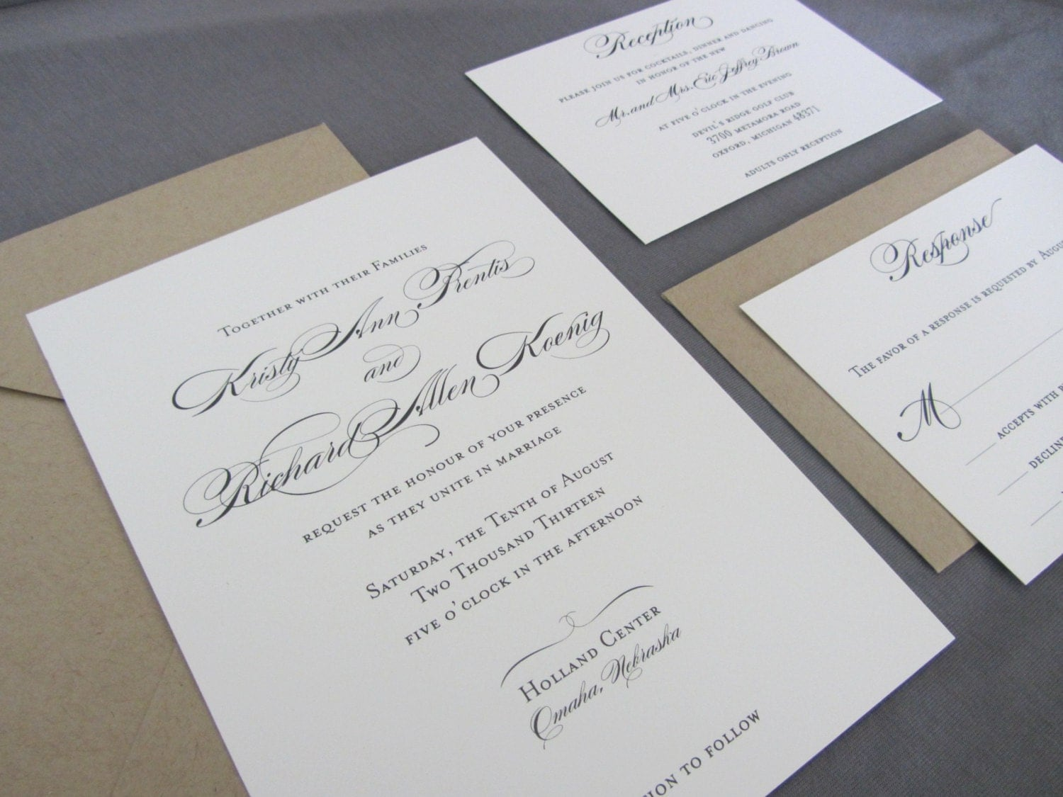 Custom Made Wedding Invitations: Formal Wedding Invitation Custom Wedding Invitation Suite