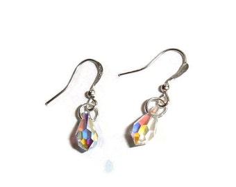 Swarovski Crystal Earrings Rainbow Prism Earrings Simple Crystal Drop earrings AB Crystal AB earrings Rainbow Crystal Simply Bling  Earrings