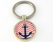 Anchor Keychain , Nautical Keychain ,  Photo Keychain , Glass Bezel Keychain
