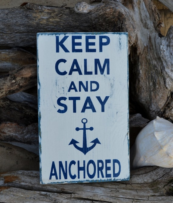 Beach Decor Nautical Anchor Theme Keep Calm by CarovaBeachSignCo