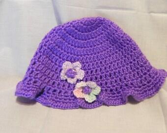 Women's Crochet Purple Hat with Flowers