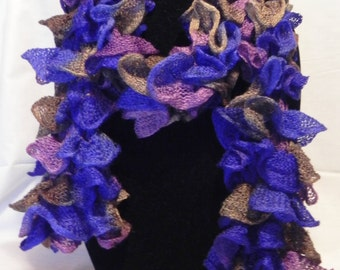 Multi-colored Varigated Ruffle Knit Scarf in Blue, Purple, and Brown