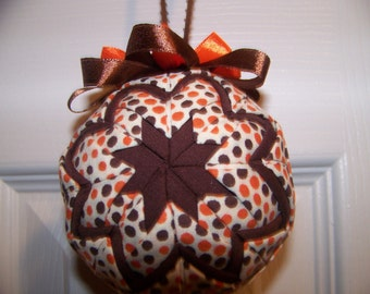 Halloween quilted ornament/ Fall Orange and Brown Polka Dots quilted ornament