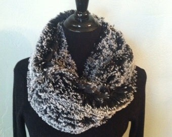 Free  US Shipping - Black and White Faux Alpaca Fur Infinity Scarf