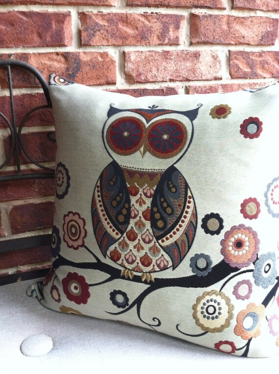 Owl Throw Pillow Etsy : Items similar to Owl Throw Pillow Cover in Black, Red, Slate Blue, and Gold 20