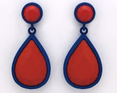 Pear Shaped Dangle Earrings in Blue/Red - halfcraftstudio