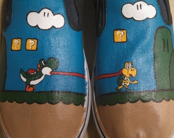 Hand Painted Super Mario Wold Yoshi Shoes