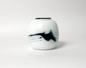 holmegaard glass vase atlantis michael bang ball danish collectable scandinavian white blue
