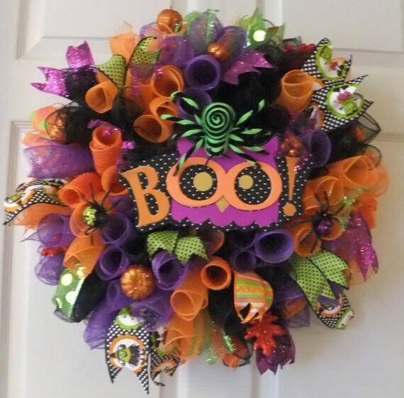 Happy Halloween Wreath Curly Deco Mesh Door Wreath