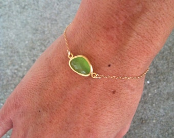 Bezel Set Bracelet, Gold Fill Chain, Faceted Stone, Apple Green
