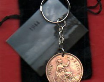 1944 1d 1d Old Penny English Coin Keyring Key Chain Fob King George VI