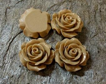 4 Rose Flower Cabochons, 30 mm - Item 53834