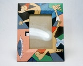 Picasso Inspired Hand Painted Photograph Picture Frame in Wood A Unique Post Modern Art Object Modern Abstract Painting Desktop Bookshelf