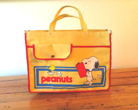 70s Snoopy Peanuts Yellow School Bag tote
