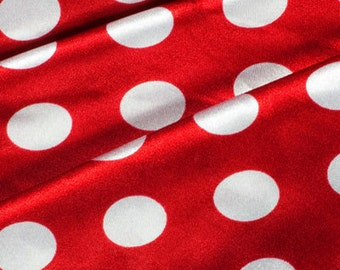 60'' Wide Charmeuse Satin Large White Polka Dots on Red Fabric By The Yard